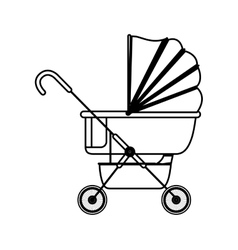 Silhouette baby carriage with layette vector