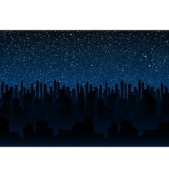 Starry night sky Silhouette of the city Eps 10 vector image vector image