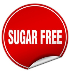 Sugar free round red sticker isolated on white vector