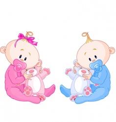 Twin babies vector