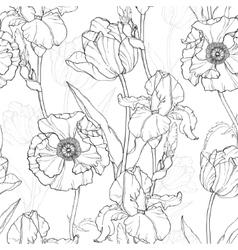 Vintage black white flowers drawing vector