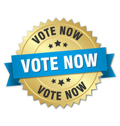 Vote now 3d gold badge with blue ribbon vector