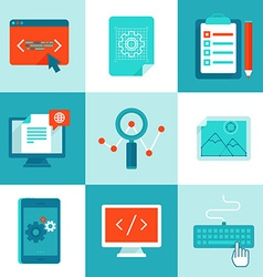 web development and programming icons in flat vector image vector image