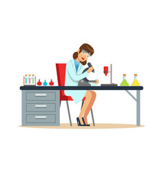 Woman chemist working with microscope and testing vector