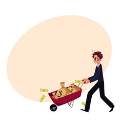 Worried businessman in glasses pushes wheelbarrow vector