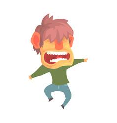 Young angry screaming man despair aggressive vector