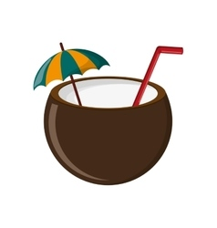 Coconut cocktail icon vector