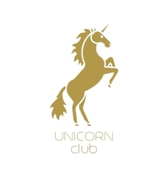 Unicorn club isolated logotype design vector image