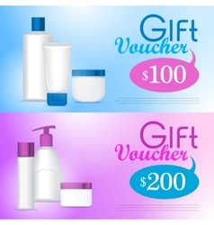 Template gift voucher on cosmetics vector