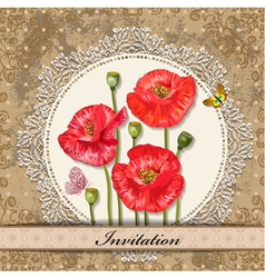 Invitation poppy vector