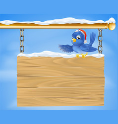 Santa hat bluebird snowy sign vector