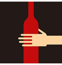 Hand holding a wine bottle vector