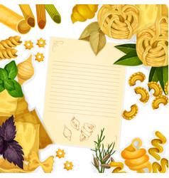 Pasta and herbs around paper with copy space vector