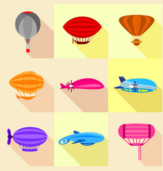 Airships icons set flat style vector