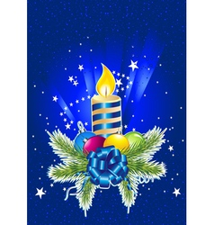 Card with colorful christmas decorations vector image