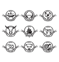 set icons meat vector image