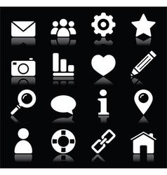 Website menu navigation white icons on black vector image