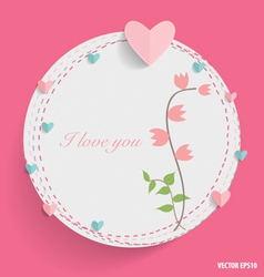 Cute card with heart and floral bouquets vector