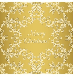 Christmas Greeting card with snowflake gold vector image