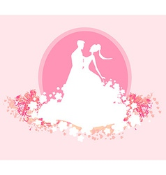Ballroom wedding dancers silhouette - invitation vector image