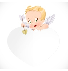 Cute cupid with a big white valentine card vector
