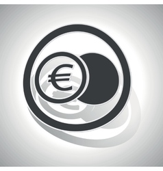 Euro coin sign sticker curved vector