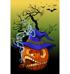 Cartoon evil pumpkin smoking a cigar vector
