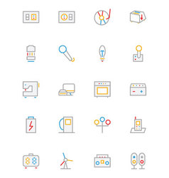 Electronics and devices colored outline icons 6 vector