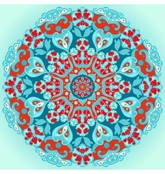 Turquoise round decorative flower ornament vector