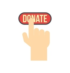Donate button pressed by hand flat icon vector