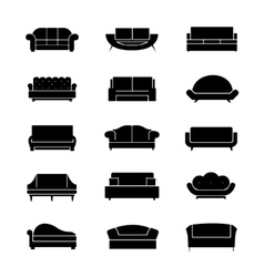 Sofas and couches furniture black icons vector