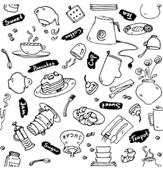 Tea party kitchen tools seamless pattern vector image