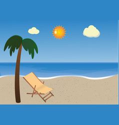 beach with palm and sunbed vector image