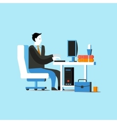 Businessman or office worker sitting on chair and vector image