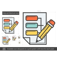 Data architecture line icon vector