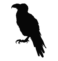 Decorative bird line art rook black and white vector