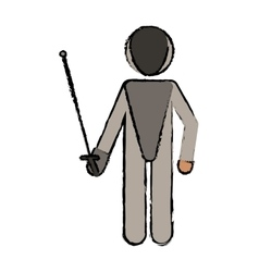 Drawing fencing player sport athlete vector
