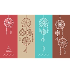 Dream catcher boho flat line icons set vector image