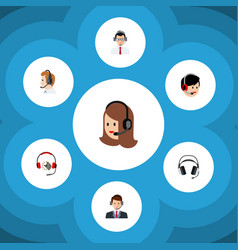 Flat telemarketing set of operator headphone vector