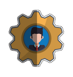 Gear frame businessman faceless picture vector