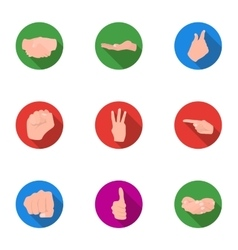 Hand gestures set icons in flat style big vector
