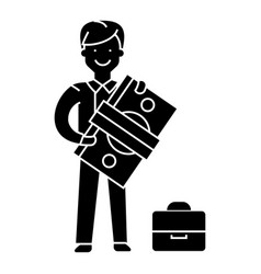 Happy businessman with money icon vector