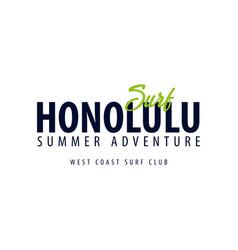 honolulu surfing emblem or logo vector image