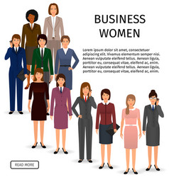 International business woman team group of office vector