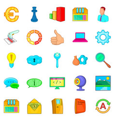 large data warehouse icons set cartoon style vector image vector image