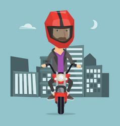 Man riding motorcycle at night vector