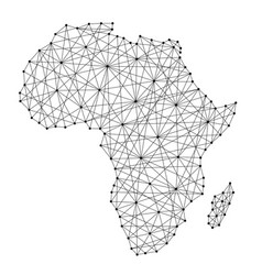 Map of africa from polygonal black lines vector