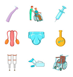 Medical commission icons set cartoon style vector