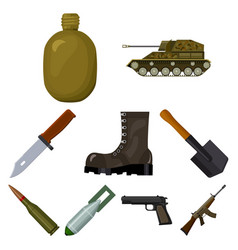military and army set icons in cartoon style big vector image vector image