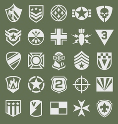 Military icons symbol set on green vector